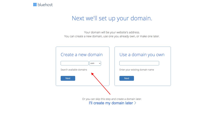 bluehost register new domain