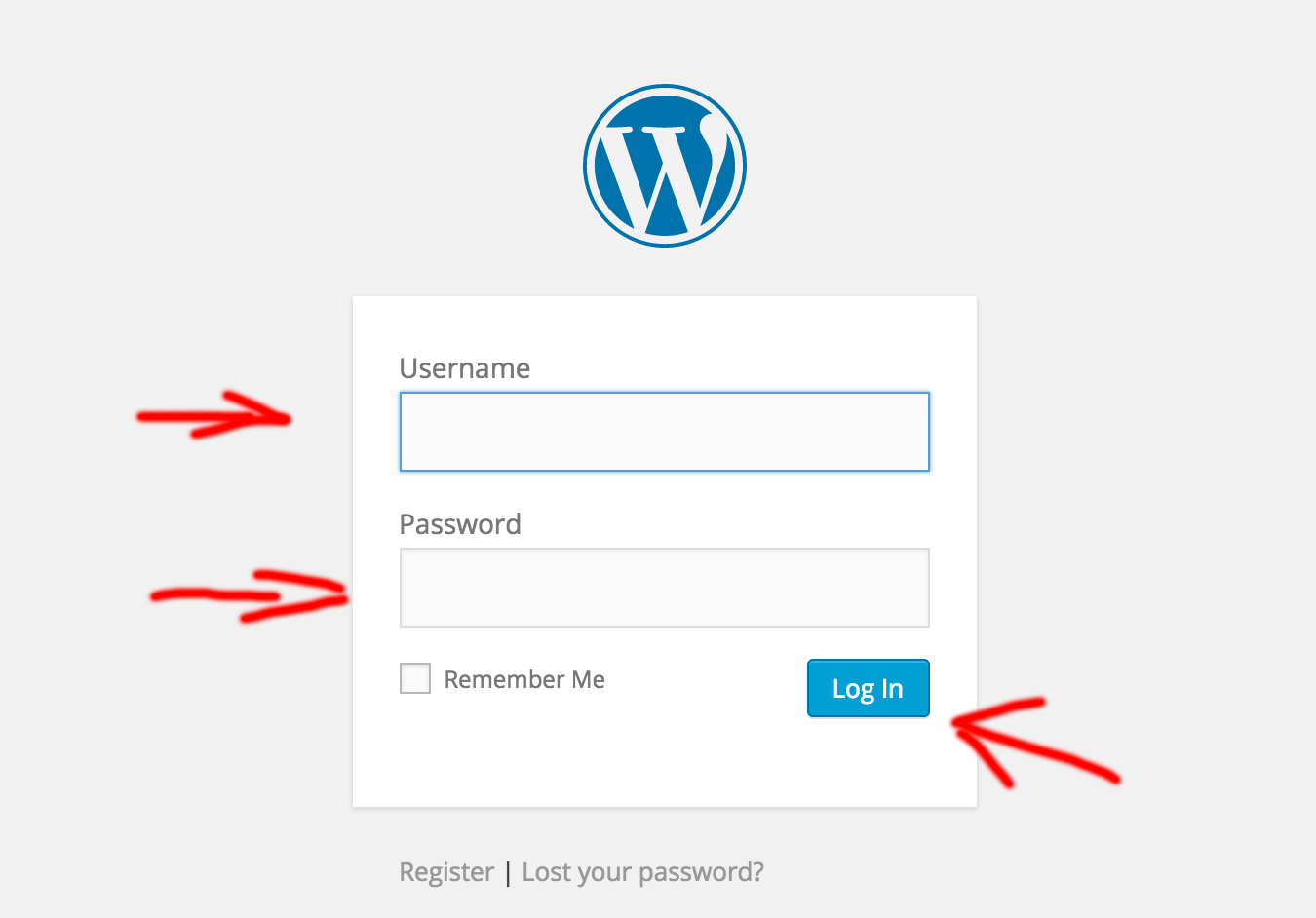wp admin login screen