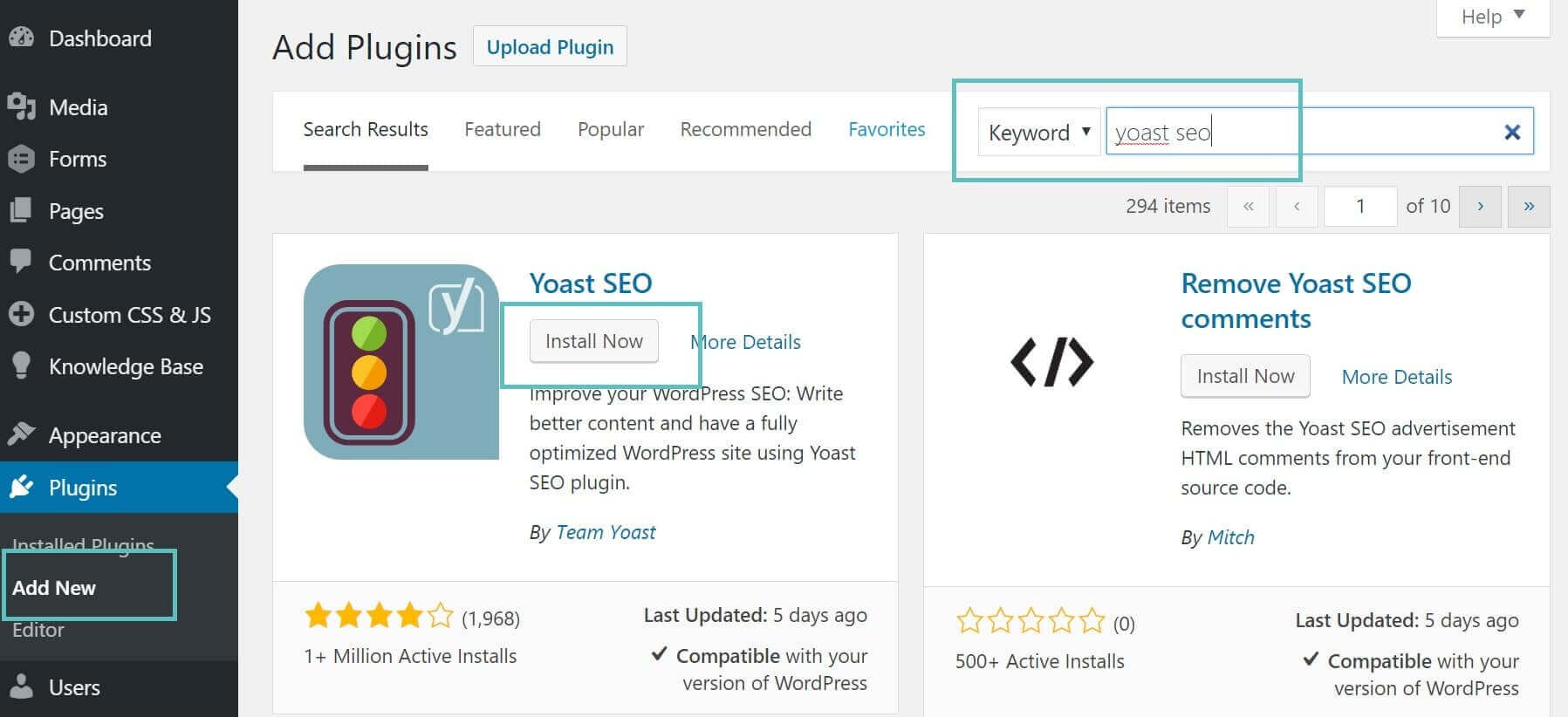 wordpress plugin screen