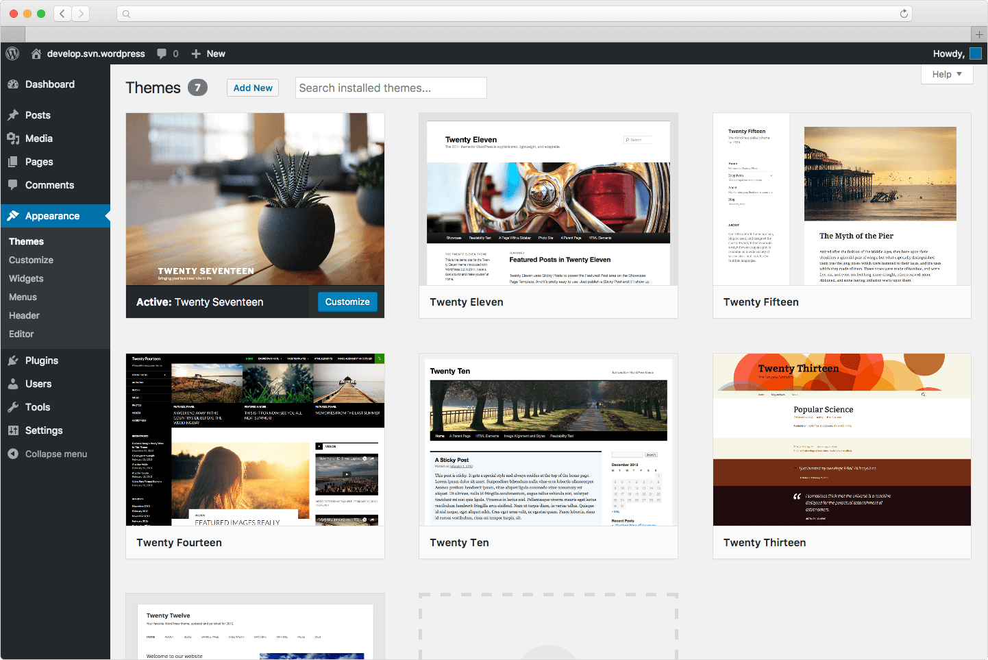 wordpress theme screen