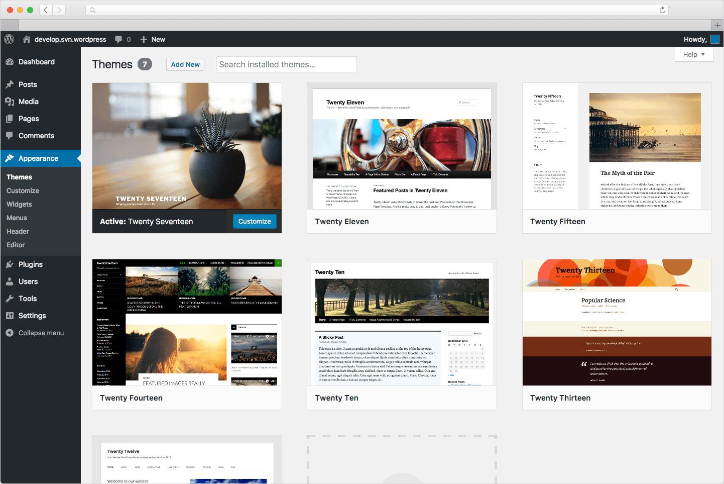 wordpress theme screen